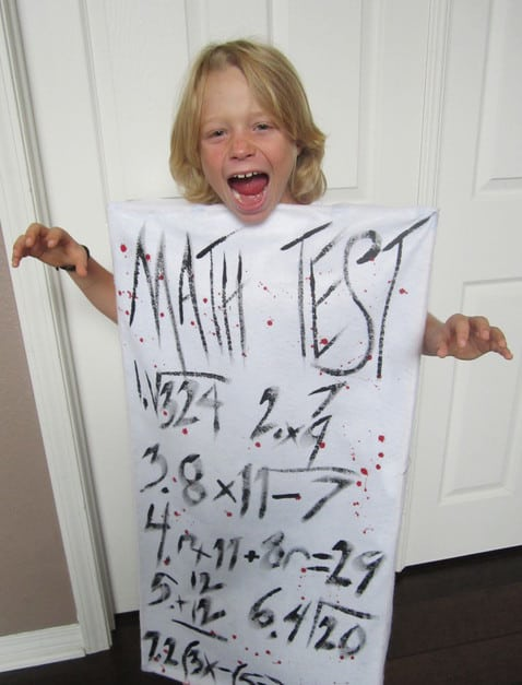 Scary math test costume