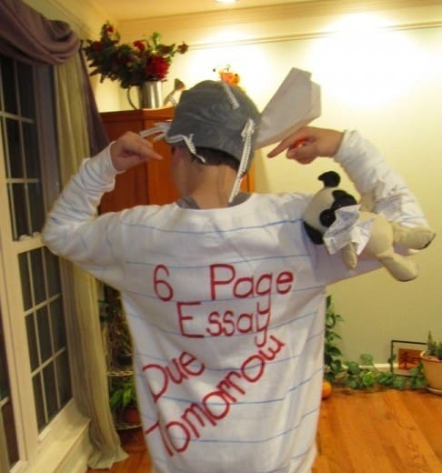 Homework costume for Halloween