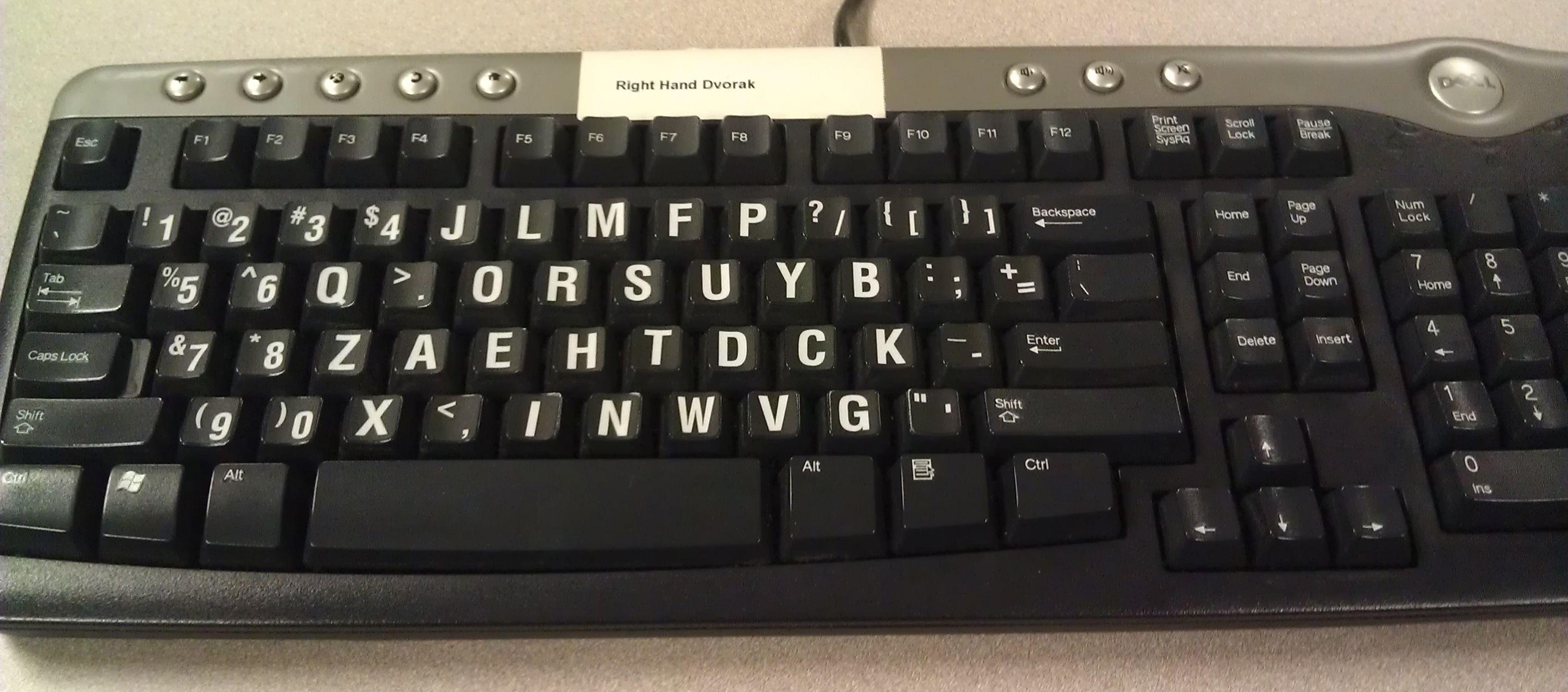 Right Handed Dvorak Keyboard