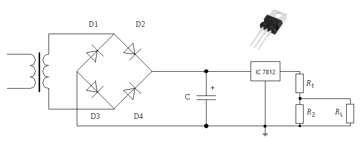 ic 7812 is a voltage regulator with the input voltage 14 6 - 35 vdc and the  output voltage of 12 v  we need 8 volts, so design the circuit: